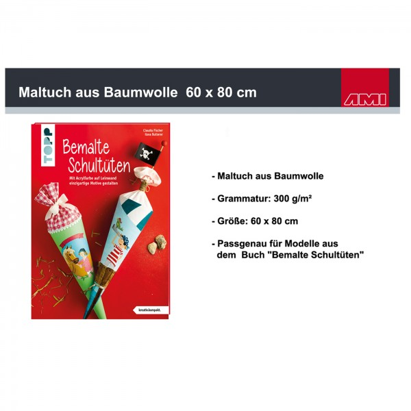 Maltuch Baumwolle 300g, 60x80cm