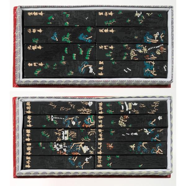 China Tuschestein Set 18tlg., schwarz