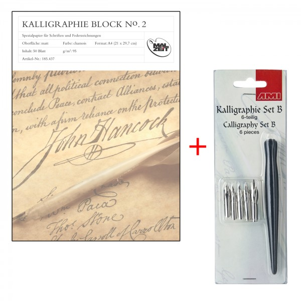 Kalligraphieblock A4, Set B