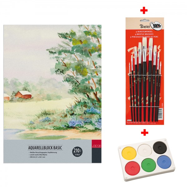 Aquarellblock A4 + Farbe & Borstenpinsel