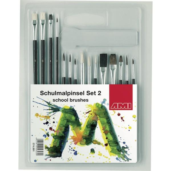 Schulmalpinsel Set 2, 15tlg.