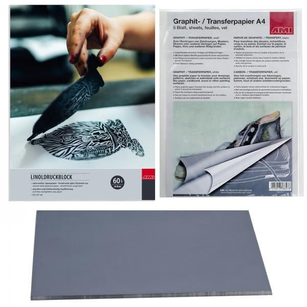 Linoldruckblock 23x31cm +Softplatte und Graphitpapier, weiß