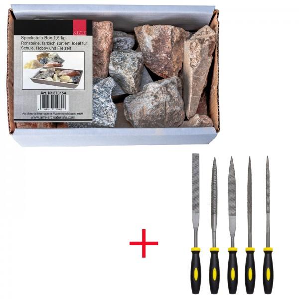 Specksteinbox 1,5 Kg + Raspelset