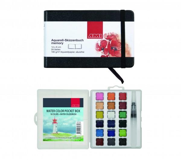 Aquarell Skizzenbuch Memory inkl. Watercolor Pocket Box 18 Farben