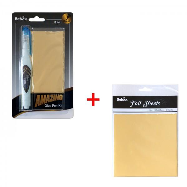 Glue Pen Set 4tlg. + Transferfolie 6Bl.