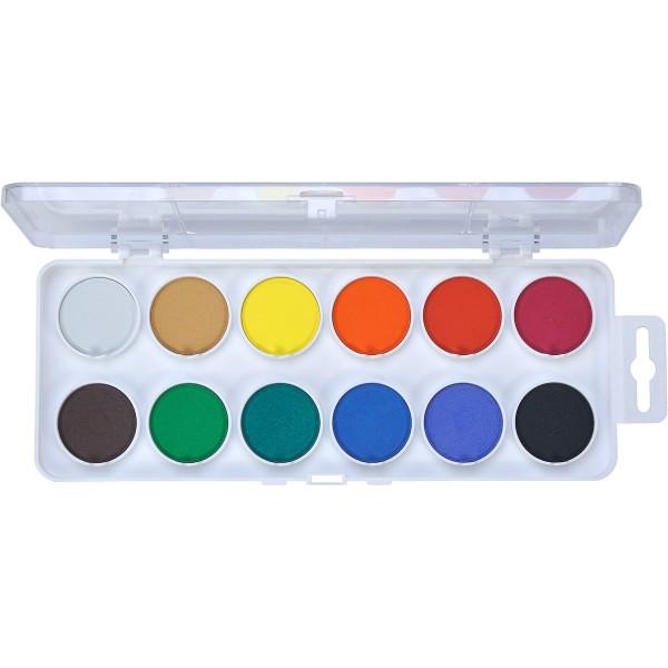 Aquarellkasten 12 Farben, weiß