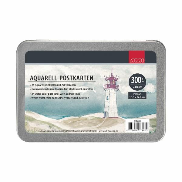 Aquarell Postkarten 300g, A6, 24 Stck.