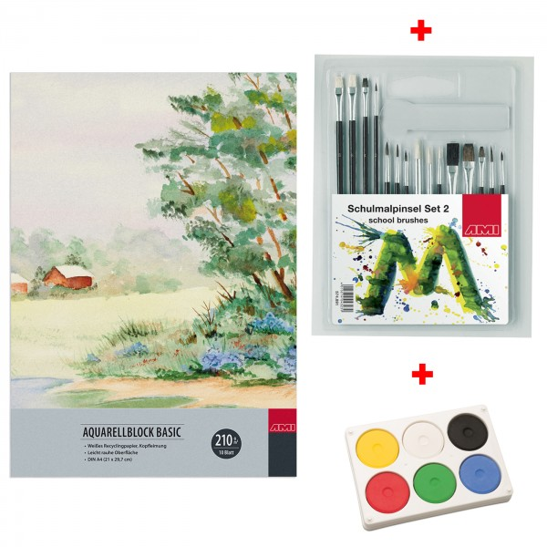Aquarellblock A4 mit Farbe und Pinseln
