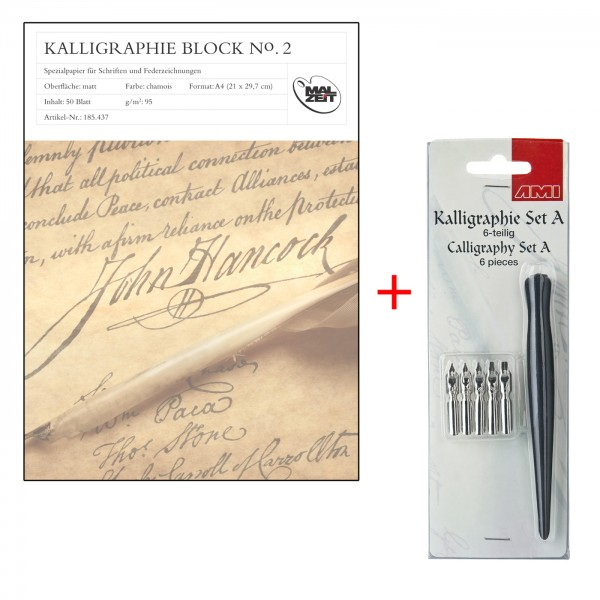 Kalligraphieblock A4, Set A