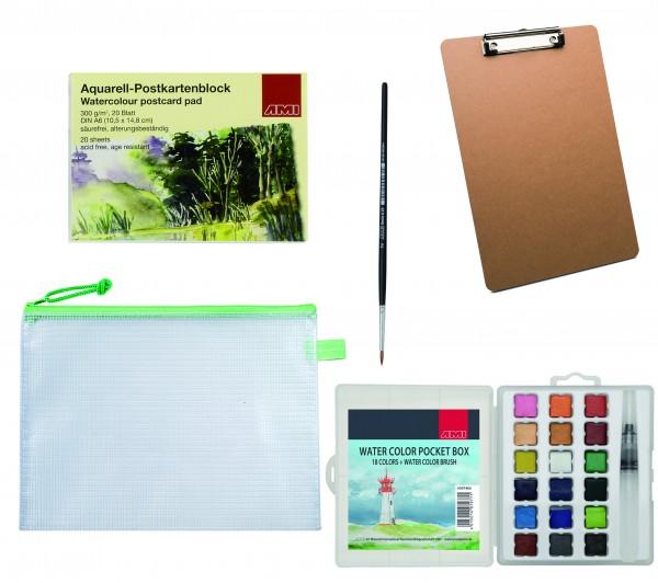 Aquarell Postkarten A6 + Watercolorbox 18 Farben und Zubehör