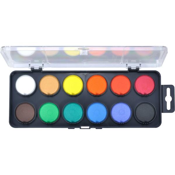 Aquarellkasten 12 Farben, schwarz